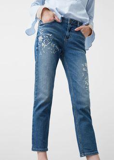 Jean straight brodé crotia - Jeans pour Femme | MANGO France