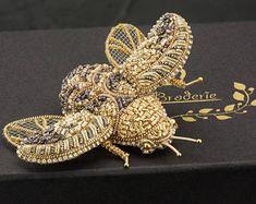 Beetle Brooch Golden Beetle Shiny Brooch Bronze Beetle Beetle Pin Golden Brooch Insect Jewelry Beetle Jewelry Insect Pin Embroidered Brooch