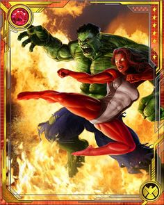 "#Hulk #Fan #Art #Card. (Hulk and Red She Hulk Marvel War of Heroes: Red She-Hulk is the daughter of one of the Hulk's greatest enemies--General ""Thunderbolt"" Ross. To further complicate their relationship, Betty's father has ""hulked out"" himself, becoming the Red Hulk!)(THE * 5 * STÅR * ÅWARD * OF: * AW YEAH, IT'S MAJOR ÅWESOMENESS!!!™) ÅÅÅ+"