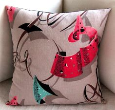 Vintage Retro Barkcloth Pillow Cover  Atomic by atomiclivinhome, $78.00