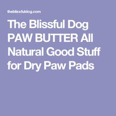 The Blissful Dog PAW BUTTER All Natural Good Stuff for Dry Paw Pads