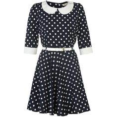 Polka Dot Dress ($57) ❤ liked on Polyvore featuring dresses, 3/4 sleeve dress, polka dot dress, skater skirt, peter pan dress and three quarter sleeve dress