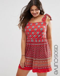 ASOS Curve ASOS CURVE Border Print Pinafore Romper * Want additional info? Click on the image.