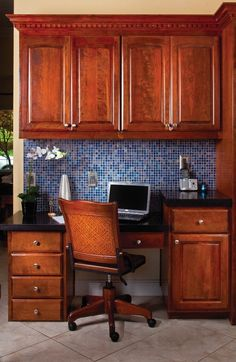 What do you think about this blue mosaic tile backsplash and cabinet combination? Refacing Kitchen Cabinets, Cabinet Refacing, New Cabinet, Blue Mosaic Tile, Backsplash, Granite, Kitchen Remodel, Kitchen Ideas, Interiors