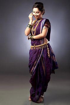 Sonali Kulkarni in a Maharashtrian 9 yard Saree