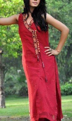 contrast kurta neck designs - Google Search: