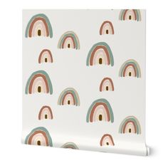 Featured print available custom printed onto your choice of Spoonflower's PRE-PASTED SMOOTH wallpaper -or- PEEL-AND-STICK WOVEN wallpaper. Both options are self-adhesive and fully removable, perfect for renters or a DIY home decor refresh, no professional installers or additional paste required. Featured Print: watercolour rainbow designed by sunny_afternoon ◆SIZING◆ Each roll of wallpaper is custom printed to order and has a fixed width that covers 24 inches of wall space. We offer a variety of