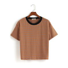 Contrast Collar Striped Loose T-shirt ($12) ❤ liked on Polyvore featuring tops, t-shirts, clothes-shirts, striped, stripe t shirt, tee-shirt, stripe tee, striped t shirt and brown tee