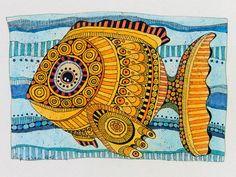 Zeichnung, gelber Fisch, TimpeTe AKR 14 von tisch8-artwork auf DaWanda.com