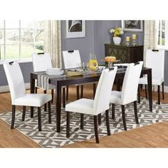 White Faux Leather and Wengewood 7-piece Dining Set