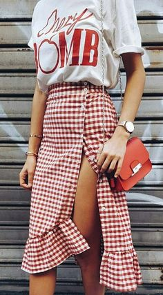 summer style. red gingham skirt.