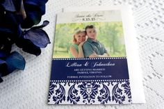 Blue Save the Date Magnet – Save the Date Photo Magnet, Damask Save the Date, Navy Blue Save the Date, Damask Save the Dates - DEPOSIT