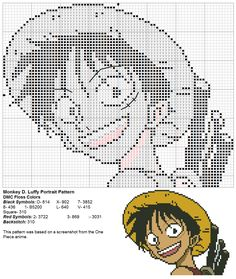 Dork Stitch: One Piece - Monkey D. Luffy Portrait pattern