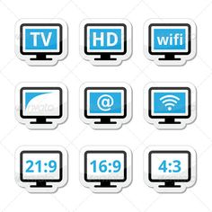 TV Monitor, Screen Icons Set  #GraphicRiver         HD tv, wireless, web televistion black and blue labels set isolated on white  FEATURES:   100% Vector Shapes  All groups have names  All elements are easy to modify – you can change coulours, size  Pack include version AI, EPS, JPG      Created: 25July13 GraphicsFilesIncluded: JPGImage #VectorEPS #AIIllustrator Layered: Yes MinimumAdobeCSVersion: CS Tags: black #blue #channel #computer #element #graphic #hd #highdefinition #icon #internet…