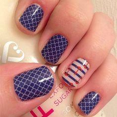 Jamberry Nails - Navy Quartrefoil & Nautical - www.larisabarth.jamberrynails.net