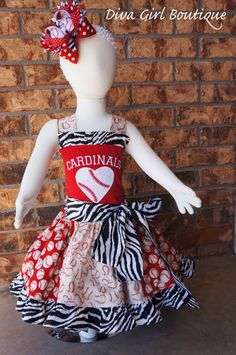 Boutique Girls Baseball Dress Pageant Dress Birthday Outfit Cardinals Custom Childrens Clothing Boutique Hairbow 6m 12m 18-24M 2T 3T 4T 5 6