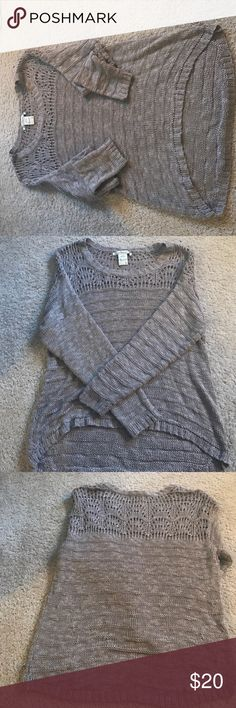 American rag knit sweater! Soft, knit, the top next to your shoulders is a bigger knit so you can see through it, it's a really pretty taupe color! Sweaters Crew & Scoop Necks