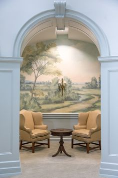 Scenic landscape mural wallpaper inspired by the English countryside, painted and printed by Susan Harter. Entrance foyer hall in Samford University in Alabama. Living Room Murals, Wall Murals, Wall Art, Fresco, Hedsor House, Scenic Wallpaper, Wallpaper Murals, Foyer Design, Wall Design