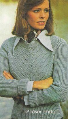 Receita da blusa feminina de tricô com motivo rendado Pulôver feminino de tricô…