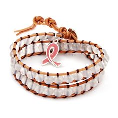 Breast Cancer Awareness Wrap Bracelet with Pink Ribbon Charm $44  *50% of proceeds donated to American Breast Cancer Foundation