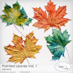 Painted Leaves by Lara's Digi World | Digital Scrapbooking Element Packs 4 Leaves, Painted Leaves, Elements Of Art, Autumn Theme, Painting For Kids, Digital Scrapbooking, Digital Art, Studio, Commercial