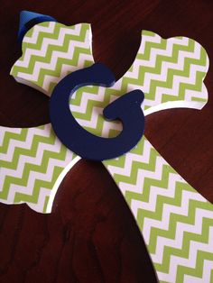Girls or Boys Wall Cross, Personalized Cross, Nursery Art, Girls Baptism Gift, First Communion Gift, New Baby Gift, Green Chevron Cross by HairSweets on Etsy