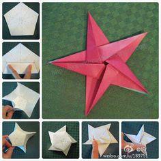 Estrela em Origami. Origami, arte japonesa da dobradura de papel...  Fonte: http://www.360doc.com/content/12/0625/12/3243271_220311999.shtml