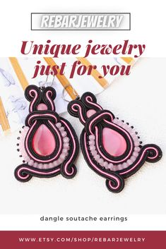 Original and very energy pink and black earrings for you. Perfect Valentine's, Birthday or Christmas gift for your friend. Handmade soutache jewelry Earrings made with the soutache embroidery technique using pink cat's eye, rose quartz and fire polish. Handmade Necklaces, Handmade Jewelry, Handmade Items, Unique Jewelry, Christmas Gift For You, Soutache Earrings, Pink Cat, Black Earrings, Embroidery Techniques
