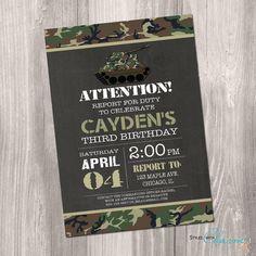 Camo Birthday Invitation Camo Invitation by StyleswithCharm