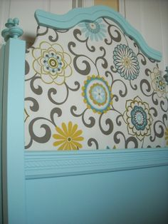 add fabric to head board...cute, cute!  @ themaisonstudios.blogspot.com