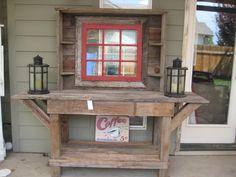 Cedar potting bench red window