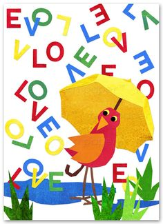 """♥ LOVE LETTERS A sweet I love you Card A Cut Paper Collage Design by Linda Henry  ♥ ♥ ♥ ♥ ♥ IN HONOR OF FRIENDS, LOVERS AND VALENTINES DAY ♥ ♥ ♥ ♥ ♥ This delightful """"SHARE A LITTLE LOVE Collection was inspired by the charming simplicity of childrens art and a nostalgic glimpse back to the cherished books and illustrations of childhood. Sweet Little Love Birds showered with HEARTS - LOVE & XOXOs  ♥ INSIDE - I love you  ♦ SPECIFICATIONS: QUANTITY...........1 Greeting Card SIZE................."""