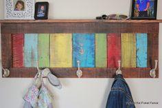 reclaimed wood coat hook http://bec4-beyondthepicketfence.blogspot.com/2014/04/colorful-rustic-coat-hook-shelf.html