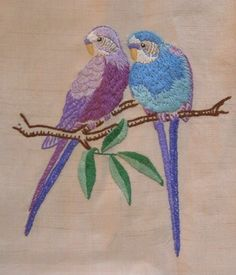 ♒ Enchanting Embroidery ♒  embroidered  vintage budgies