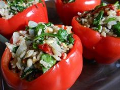 Italian Rice Stuffed Peppers - healthy, easy vegetarian dinner!