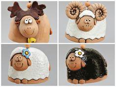 (AP) Ceramic Animal Bells Elk Ram Sheep White Black by Molinukas, Ceramic Clay, Ceramic Pottery, Pottery Art, Ceramic Animals, Clay Animals, Wapiti, Clay Crafts, Polymer Clay Projects, Cerámica Ideas