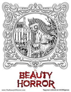 alan roberts beauty of horror coloring book zombie ghouliana page https