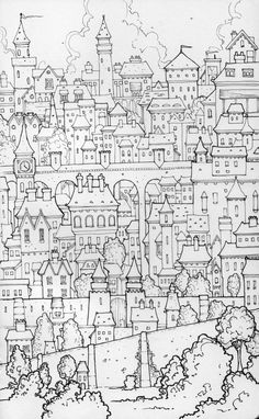 Pen and ink, in my Moleskine sketchbook. Doodle Sketch, Doodle Drawings, Doodle Art, House Illustration, Illustration Sketches, Illustrations, Colouring Pages, Adult Coloring Pages, Castle Cartoon