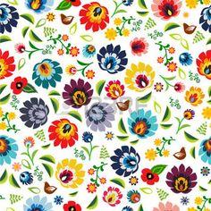 folk green: Popular polaca tradicional patrón floral vector