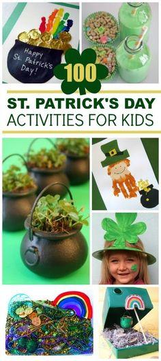 100 St. Patrick's Day Activities for Kids- So many fun ideas!  Pin! #stpatricksday #craftsforkids #stpatricksdaycraftsforkids