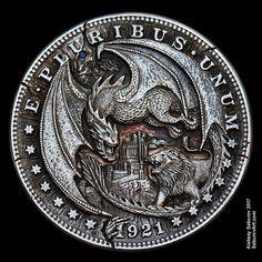Dark Fantasy Art, Fantasy Artwork, Custom Coins, Circle Tattoos, Hobo Nickel, Coin Design, Coin Art, Bullion Coins, Coins For Sale