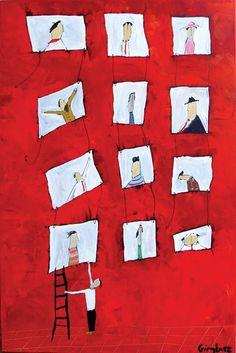 "#Art Felipe Gimenez ""El lic. Kelsen arreglando su jardín"" Book Art, Red, Illustrations, Paper, Books, Quotes, Art Projects, Art Kids, Artist's Book"