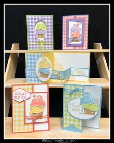 What fun! Great birthday cards with a bunch of Fun Folds. You can make these with the Hello Cupcake stamp set and Gingham Gala Paper! Handmade Birthday Cards, Card Birthday, Birthday Quotes, Birthday Wishes, Happy Birthday, Bday Cards, Birthday Kids, Birthday Images, Birthday Greetings