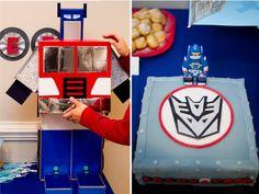 Transformers party ideas Transformers Birthday Parties, 4th Birthday Parties, Boy Birthday, Birthday Ideas, Optimus Prime, Abc Party, Party Party, Rescue Bots Birthday, Transformer Birthday