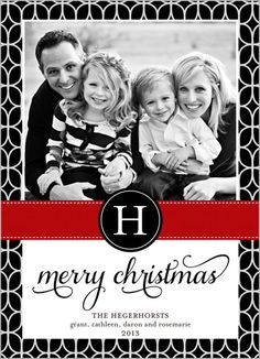 Classic monogram,geometric border #Christmas Card. Shutterfly.com
