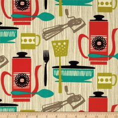 Michael Miller Jug or Not Retro Kitchenette Vanilla - thinking about getting this to make a cover for the coffee machine.