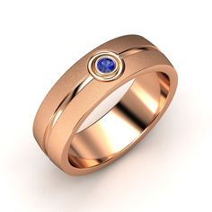 The Satin-Finish Jet Band customized in blue sapphire and rose gold #mens #wedding