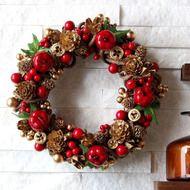 りんご・木の実・赤とゴールド・小さめリース (R09P) クリスマスの画像