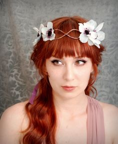 Woodland hair wreath  Echos in the mist  flower by gardensofwhimsy, $43.00