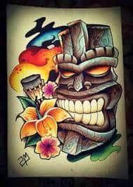 Tiki Tattoo 34 Desenho New School, Tatuagem New School, Crow Tattoo Design, Tattoo Designs, Tattoo Ideas, Tiki Maske, Tiki Tattoo, Maori Tattoos, Tribal Tattoos